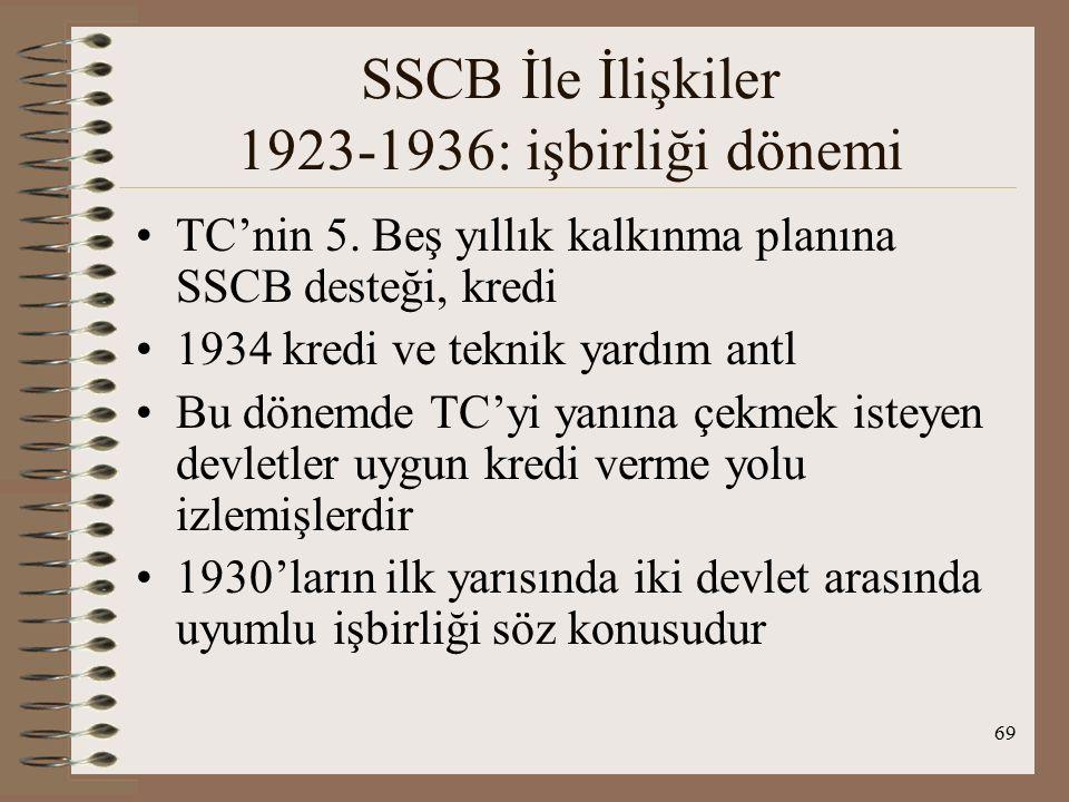 70 SSCB İle İlişkiler 1936-1939 : Yol ayrımı Montrö Konferansı: UA koşullarda değişiklik 1930'ların başından itibaren TC Boğazların Lozan düzenlenişinin gözden geçirilmesini önerdi-( 23 Mayıs 1933 Londra Silahsızlanma Konf.) 11 Nisan 1936 notasıyla ilgili devletlere Boğazlar rejiminde değişiklik isteğini bildirdi Diğer devletler ve SSCB TC'nin çağrısına olumlu yanıt verdi SSCB de Lozan Boğazlar düzenlemesinden rahatsızdı
