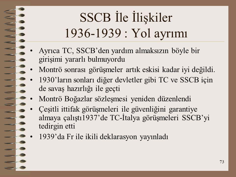 74 SSCB İle İlişkiler 1936-1939 : Yol ayrımı Montrö'de İng ile işbirliği, boğazların silahlandırılması İng ye verildi, kontrolörlük Alm.ya ) SCB ise 1931 de Japonya'nın Mançurya'yı işgalinin ardından kendisini doğudan ve batıdan tehdit altında hissetti 1934'de MC ye üye oldu Montrö ve sonrasında Boğazların güvenliğini kendi çıkarları doğrultusunda değiştirme girişiminde bulundu 23 Ağustos 1939'da Alm ile saldırmazlık paktı imzaladı TC savaş dışı konumunu sürdürdü Montrö'ye göre TC savaş dışı kaldığında boğazlardan savaş gemilerinin geçmesi yasaktı