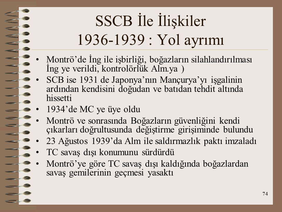 75 SSCB İle İlişkiler 1936-1939 : Yol ayrımı TC-SSCB 1919'larda emperyalist Batıya karşı kader birliği 1923 sonrası işbirliği 1936'dan itibaren savaşa hazırlık Savaş sonrası ilişkiler kötüleşti