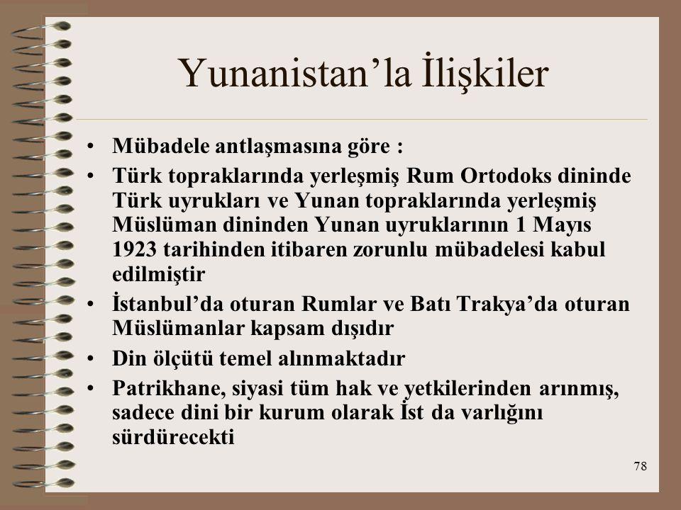 79 Yunanistan'la İlişkiler Lozan'da Patrikhane konusu ele alınmamış ve Türk iç hukukuna bırakılmıştır, İst da kalan Patrikhanenin Türk hükümeti tarafından kontrol edilebilecek olması avantaj görülmüştür Tamirat borcu olarak Karaağaç TC'ye bırakılmıştır, zira yun nın bu borcu ödeyecek gücü yoktu