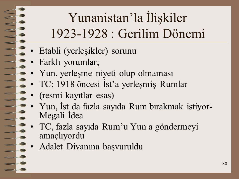 81 Yunanistan'la İlişkiler 1923-1928 : Gerilim Dönemi AD görüşü : İst şehrinin 1912'de belirlenen belediye sınırları içine 30 Ekim 1918'den önce sürekli olarak yerleşmiş bulunmak gerekir Divanın görüşü taraflar arasındaki uyuşmazlığa çözüm bulamadı ve gerginlik ortaya çıktı Yerleşikler ve Patrikhane sorunu gerilim yarattı Kesin çözüm 1930'da sağlandı Türk hükümeti Patrikhanenin evrensel statüsünü tanımadığını ve Türk kurumu olarak kabul ettiğini, dinsel konuları ileri sürerek dış güçlerin TC'nin içişlerine karışmasına izin vermeyeceğini dünya kamuoyuna göstermiştir