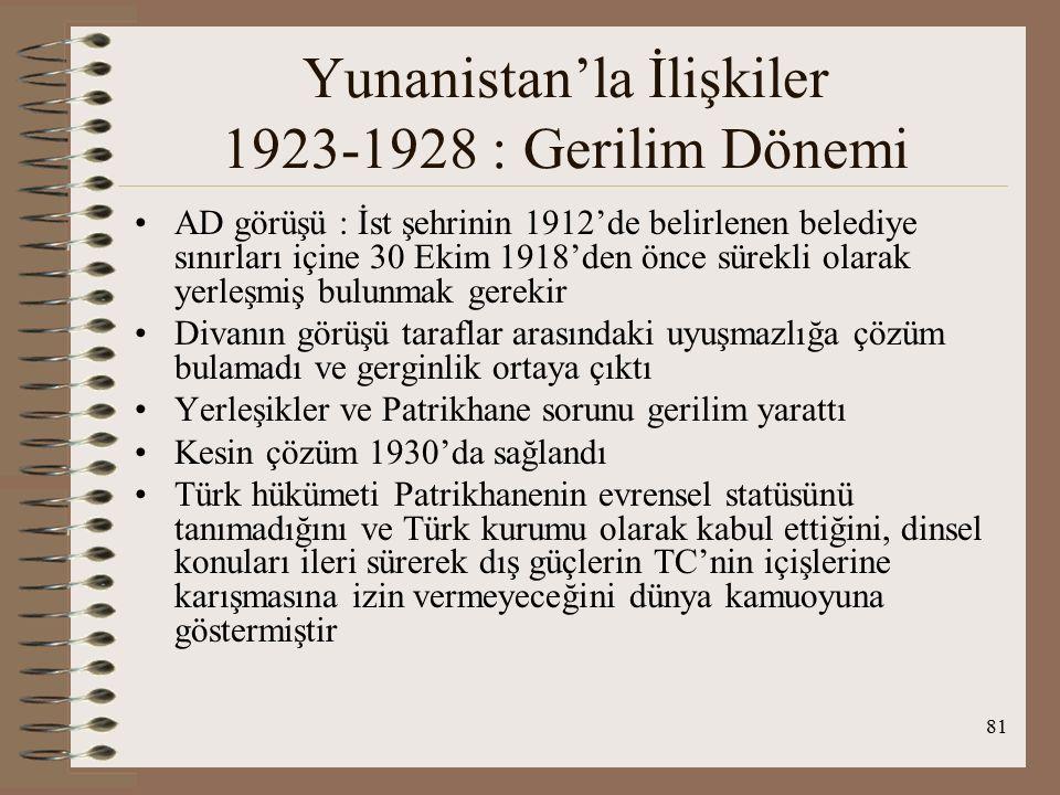 82 Yunanistan'la İlişkiler 1923-1928 : Gerilim Dönemi Sonuç olarak 1925 Ankara antlaşması ile TC, 30 Ekim 1918 öncesi ve sırasında İst'da mevcut bulunan Rumlara Ortodoks ve TC vatandaşı olmasa bile, yerleşmek niyetine bakmaksızın yerleşik sıfatı tanımıştır Ank ant.