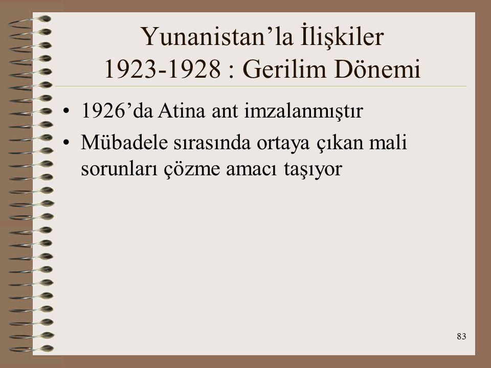 84 Yunanistan'la İlişkiler 1928-1939: Dostluk Dönemi TC Lozan'dan kalan sorunlarını çözdü Yun.
