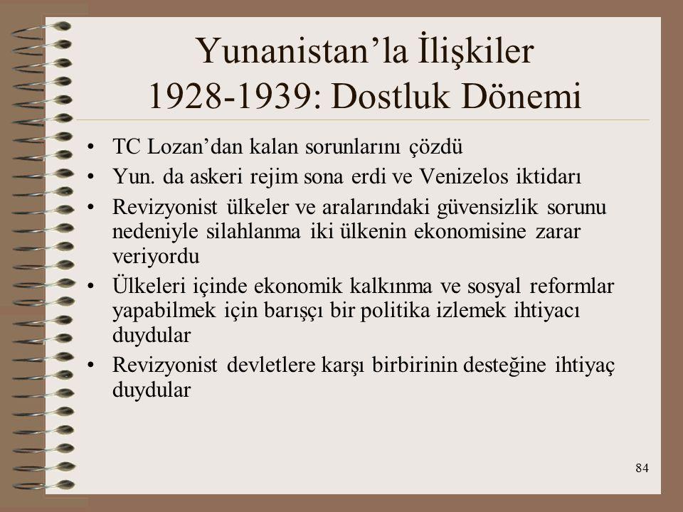 85 Yunanistan'la İlişkiler 1928-1939: Dostluk Dönemi 1928 Türk-İtalyan Antlaşması Türk-Yunan yakınlaşmasını başlatmıştır.