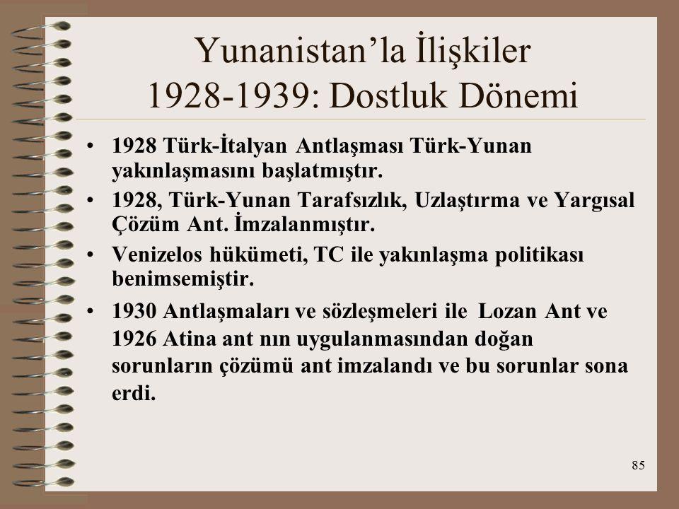 86 Yunanistan'la İlişkiler 1928-1939: Dostluk Dönemi 10 Haziran 1930 Sözleşmesi ile TC-Yun arasında nüfus mübadelesinden kaynaklanan siyasal ve ekonomik sorunlar çözülmüştür.