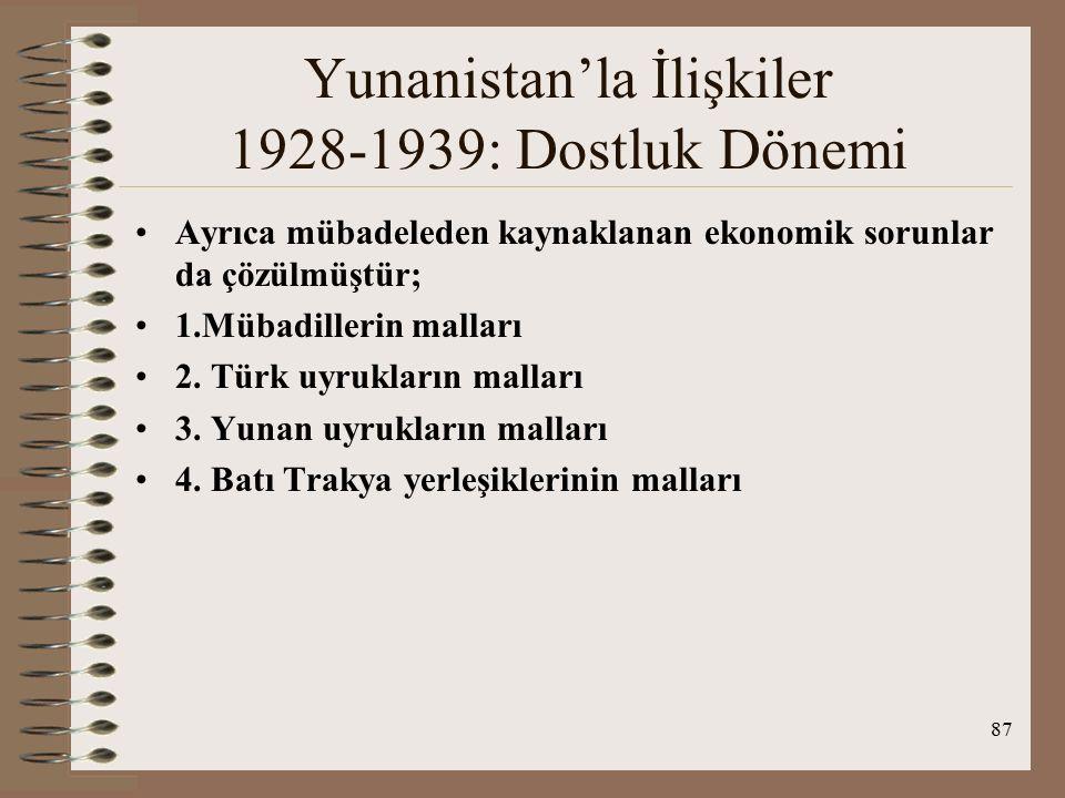 88 Yunanistan'la İlişkiler 1928-1939: Dostluk Dönemi 1930 antl.
