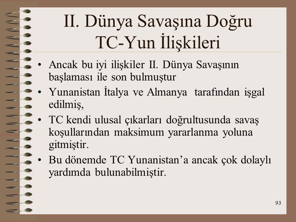 94 TC-Yunan Dostluk Döneminde; TC'nin İst, Bozcaada ve Gökçeada'daki Rum azınlığa, Yunanistan'ın ise Batı Trakya'daki Müslüman azınlığa tutumlarında yumuşama görüldü, TC Patrik seçimlerine karışmaktan vazgeçti, Rum okul ve derneklerine uyguladığı okul kitapları ve öğretmenlerle ilgili baskısını kaldırdı, Yunanistan, 1920'lerde varlıklarına göz yumduğu, Ankara yönetimine karşı kişileri sınır dışı etti