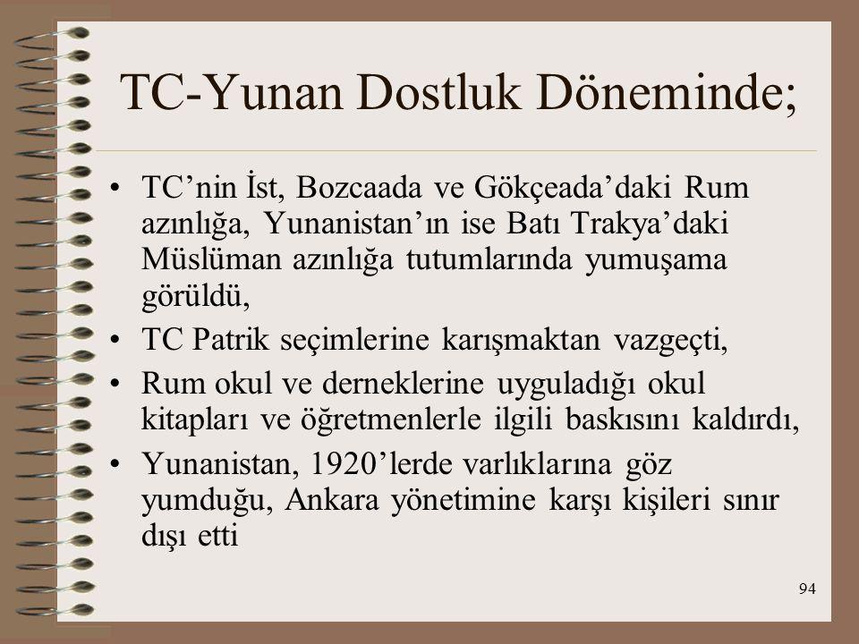 95 TC-Yunan Dostluk Döneminde; Batı Trakya'da Müslüman okullarında Arap harfleriyle eğitime son verilerek TC'de olduğu gibi Latin harfleri kullanılmaya başlandı