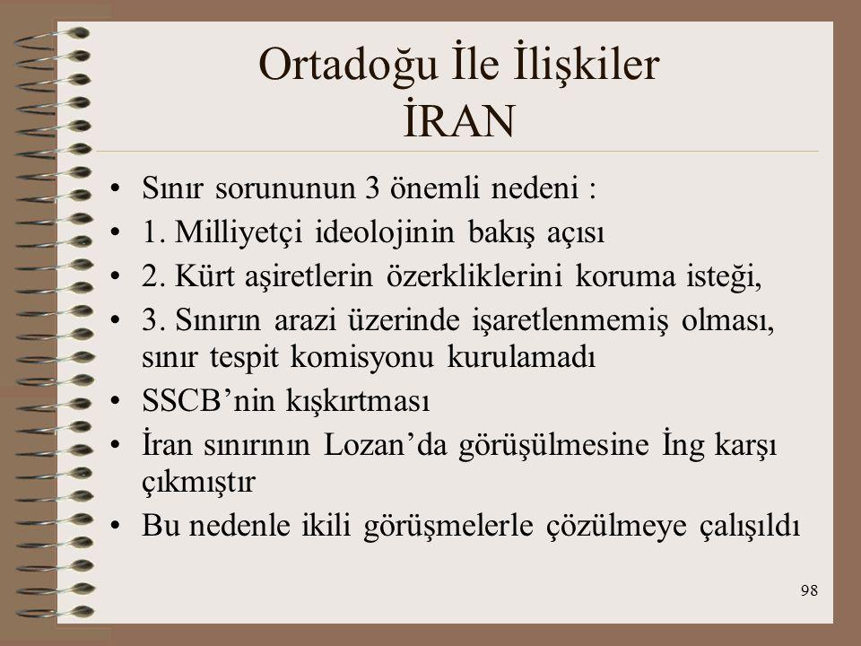 99 Ortadoğu İle İlişkiler İRAN 22 Nisan 1926'da Tahran'da Dostluk ve Güvenlik ant imzalandı : Temel amaç aşiretlerin yarattığı sınır sorununu çözmek- TC-İran arasında ilk belge 1928-Ek Protokol yine aynı içerikte Ağrı İsyanları: Küçük Ağrı dağının işgali ve karşılığında toprak teklifi,İran red etti Nedeni 1913 ant Şattülarap üzerinden geçen sınır konusu İran lehine sonuç içeriyor TC nin K.