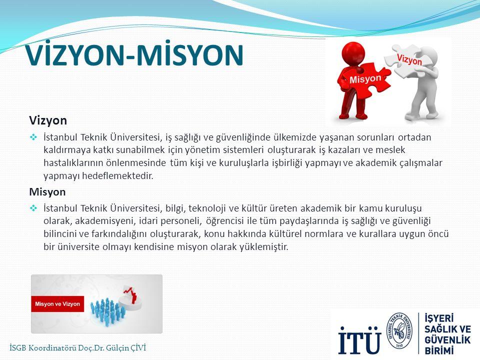 VİZYON-MİSYON Vizyon  İstanbul Teknik Üniversitesi, iş sağlığı ve güvenliğinde ülkemizde yaşanan sorunları ortadan kaldırmaya katkı sunabilmek için y