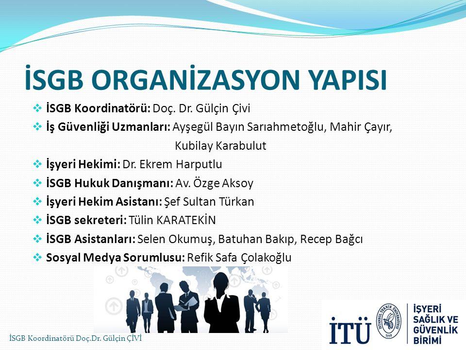 İSGB ORGANİZASYON YAPISI  İSGB Koordinatörü: Doç. Dr. Gülçin Çivi  İş Güvenliği Uzmanları: Ayşegül Bayın Sarıahmetoğlu, Mahir Çayır, Kubilay Karabul