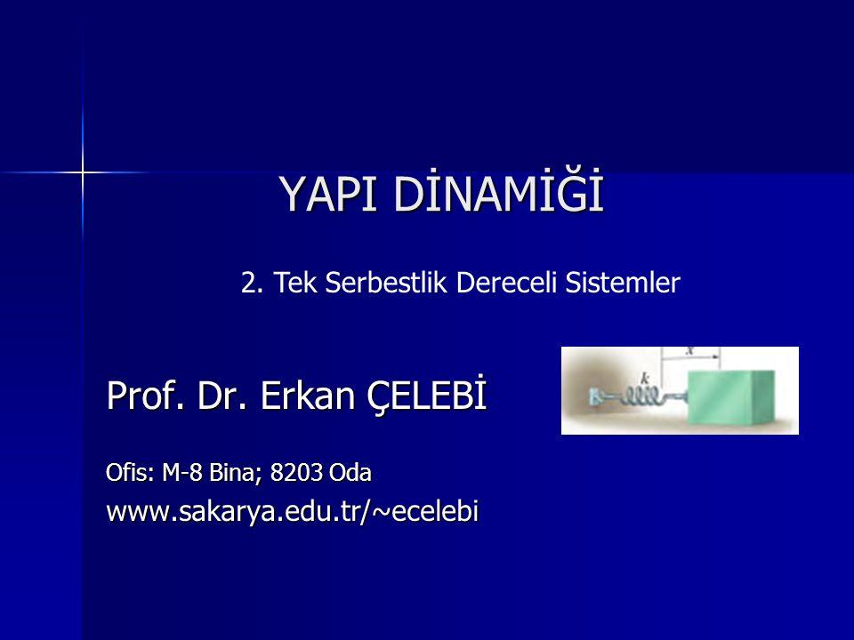 YAPI DİNAMİĞİ Prof. Dr. Erkan ÇELEBİ Ofis: M-8 Bina; 8203 Oda www.sakarya.edu.tr/~ecelebi 2. Tek Serbestlik Dereceli Sistemler