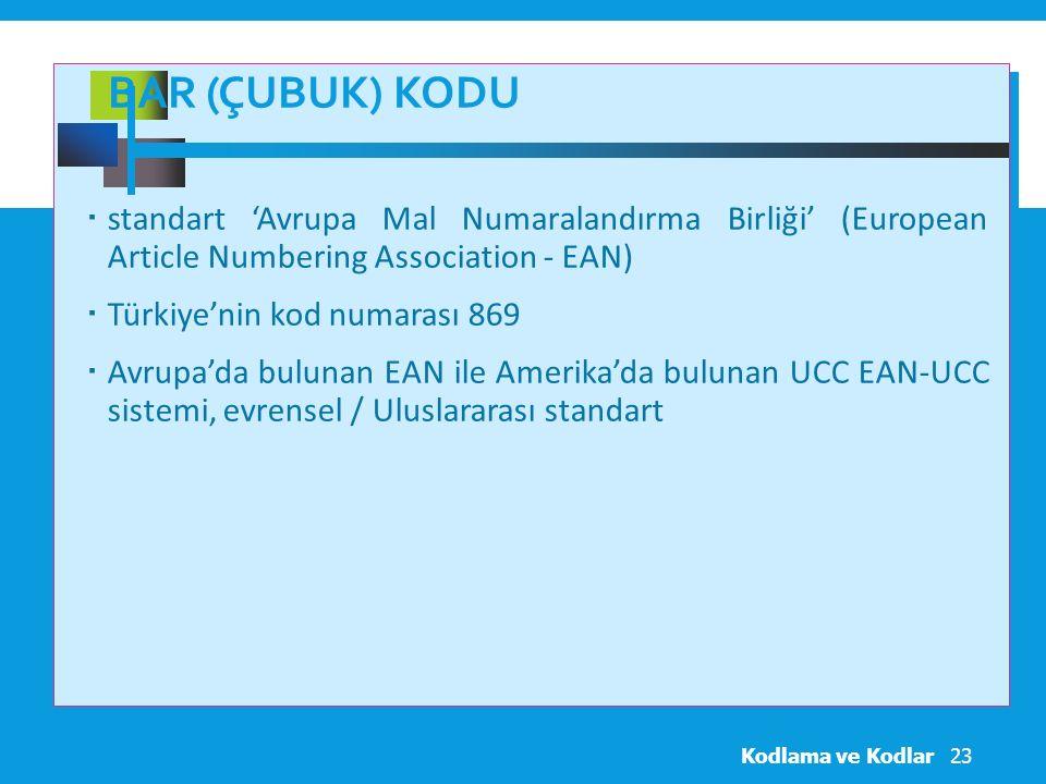 BAR (ÇUBUK) KODU  standart 'Avrupa Mal Numaralandırma Birliği' (European Article Numbering Association - EAN)  Türkiye'nin kod numarası 869  Avrupa'da bulunan EAN ile Amerika'da bulunan UCC EAN-UCC sistemi, evrensel / Uluslararası standart Kodlama ve Kodlar23