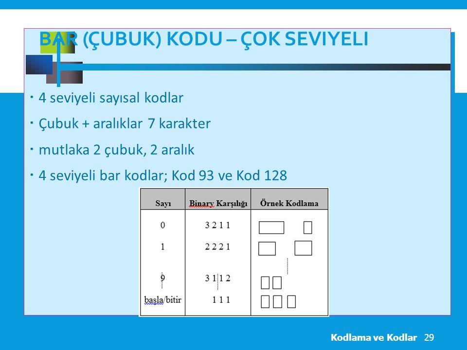 BAR (ÇUBUK) KODU – ÇOK SEVIYELI  4 seviyeli sayısal kodlar  Çubuk + aralıklar 7 karakter  mutlaka 2 çubuk, 2 aralık  4 seviyeli bar kodlar; Kod 93 ve Kod 128 Kodlama ve Kodlar29