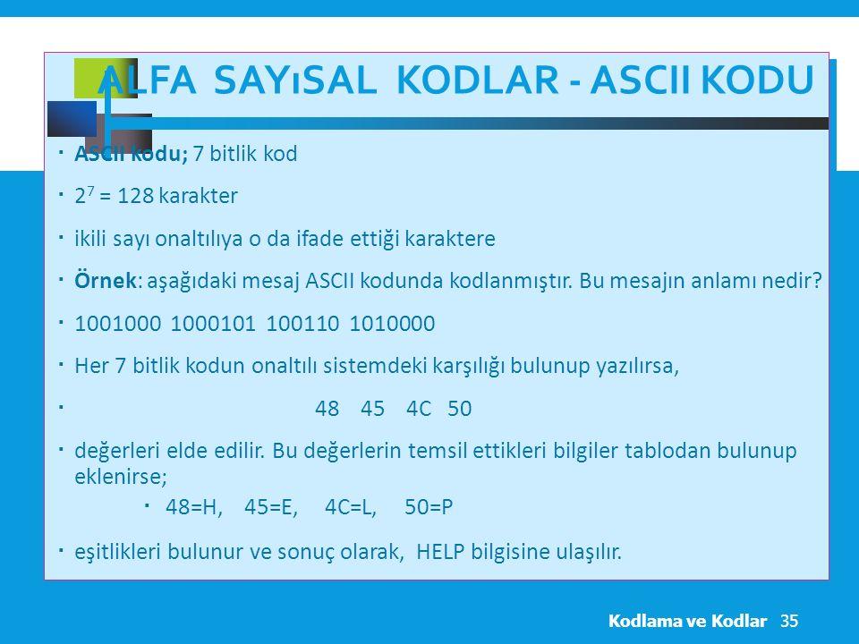 ALFA SAYıSAL KODLAR - ASCII KODU  ASCII kodu; 7 bitlik kod  2 7 = 128 karakter  ikili sayı onaltılıya o da ifade ettiği karaktere  Örnek: aşağıdaki mesaj ASCII kodunda kodlanmıştır.