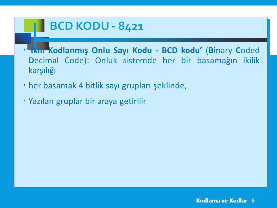 BCD KODU - 8421 Kodlama ve Kodlar6  'İkili Kodlanmış Onlu Sayı Kodu - BCD kodu' (Binary Coded Decimal Code): Onluk sistemde her bir basamağın ikilik karşılığı  her basamak 4 bitlik sayı grupları şeklinde,  Yazılan gruplar bir araya getirilir