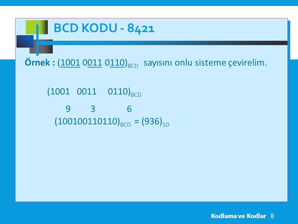 BCD KODU - 8421 Örnek : (1001 0011 0110) BCD sayısını onlu sisteme çevirelim.