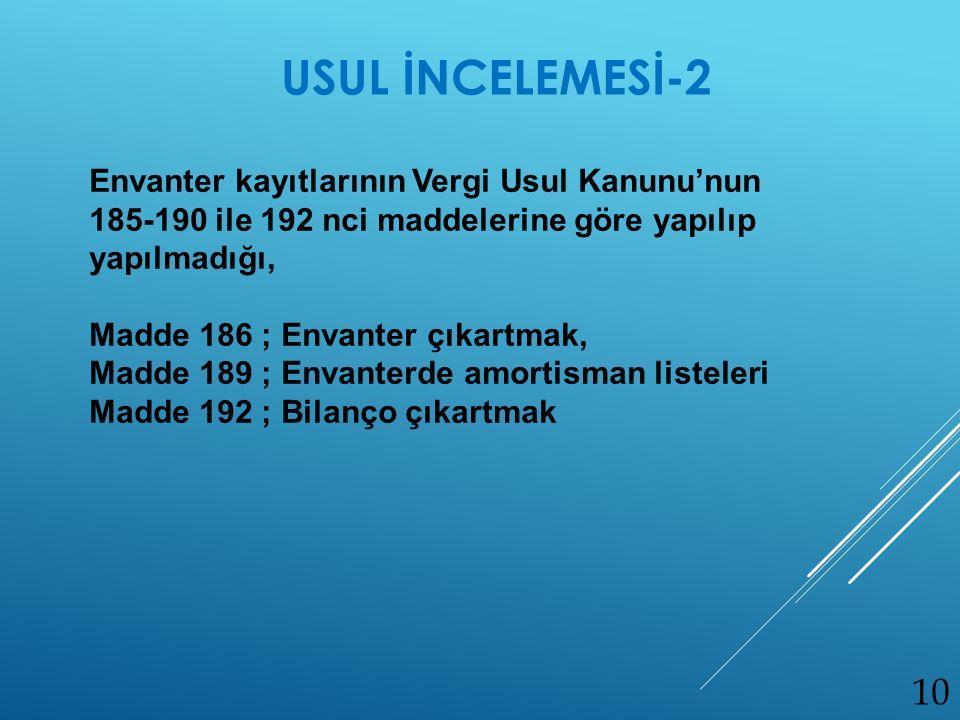Envanter kayıtlarının Vergi Usul Kanunu'nun 185-190 ile 192 nci maddelerine göre yapılıp yapılmadığı, Madde 186 ; Envanter çıkartmak, Madde 189 ; Enva