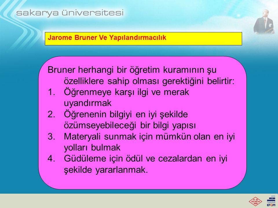 Jarome Bruner Ve Yapılandırmacılık Ders araçlarının, öğreten tarafından öğrenenin bilişsel düzeyine indirgenmesi gerekir.