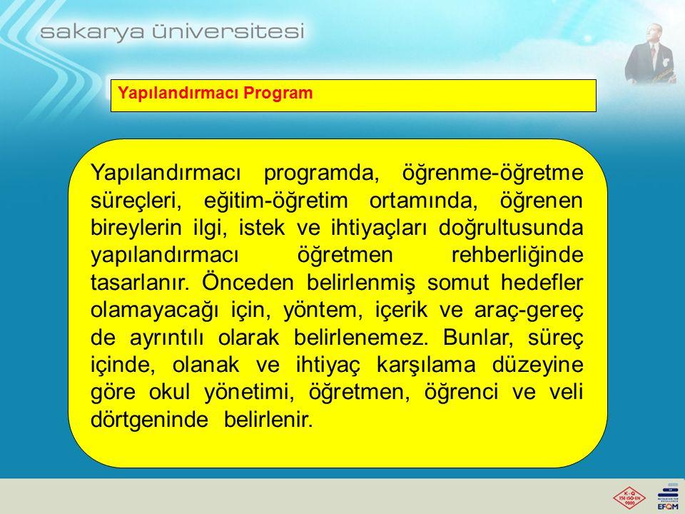Yapılandırmacı Program Öğretim programındaki hedefler, bilişsel alanın üst düzeylerinde belirlenmelidir.