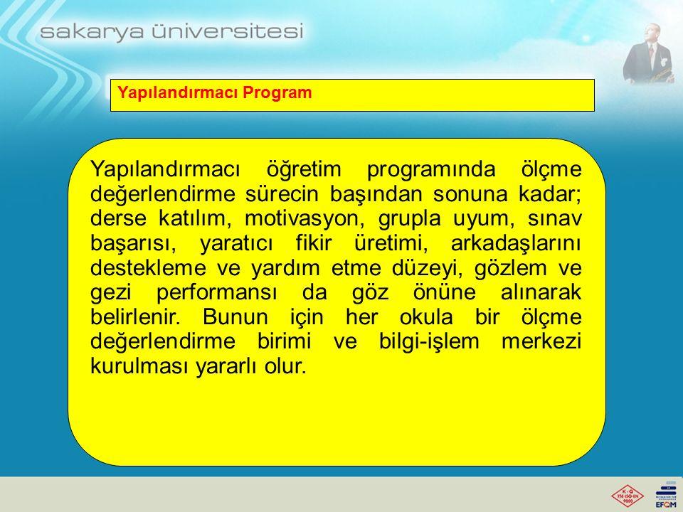 Yapılandırmacı Program Yapılandırmacı programda, önceden belirlenmiş belirli öğretim yöntem ve tekniklerine başvurulmaz.