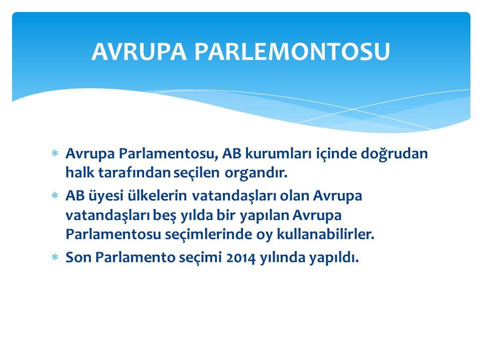  Avrupa Parlamentosu, AB kurumları içinde doğrudan halk tarafından seçilen organdır.  AB üyesi ülkelerin vatandaşları olan Avrupa vatandaşları beş y