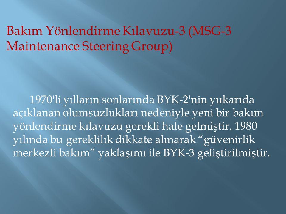 Bakım Yönlendirme Kılavuzu-3 (MSG-3 Maintenance Steering Group) 1970 li yılların sonlarında BYK-2 nin yukarıda açıklanan olumsuzlukları nedeniyle yeni bir bakım yönlendirme kılavuzu gerekli hale gelmiştir.
