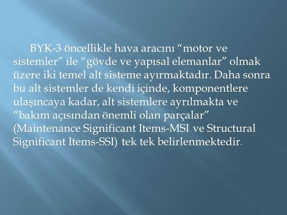 """BYK-3 öncellikle hava aracını """"motor ve sistemler"""" ile """"gövde ve yapısal elemanlar"""" olmak üzere iki temel alt sisteme ayırmaktadır. Daha sonra bu alt"""