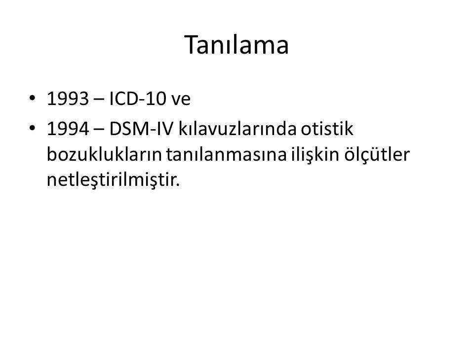 Tanılama 1993 – ICD-10 ve 1994 – DSM-IV kılavuzlarında otistik bozuklukların tanılanmasına ilişkin ölçütler netleştirilmiştir.