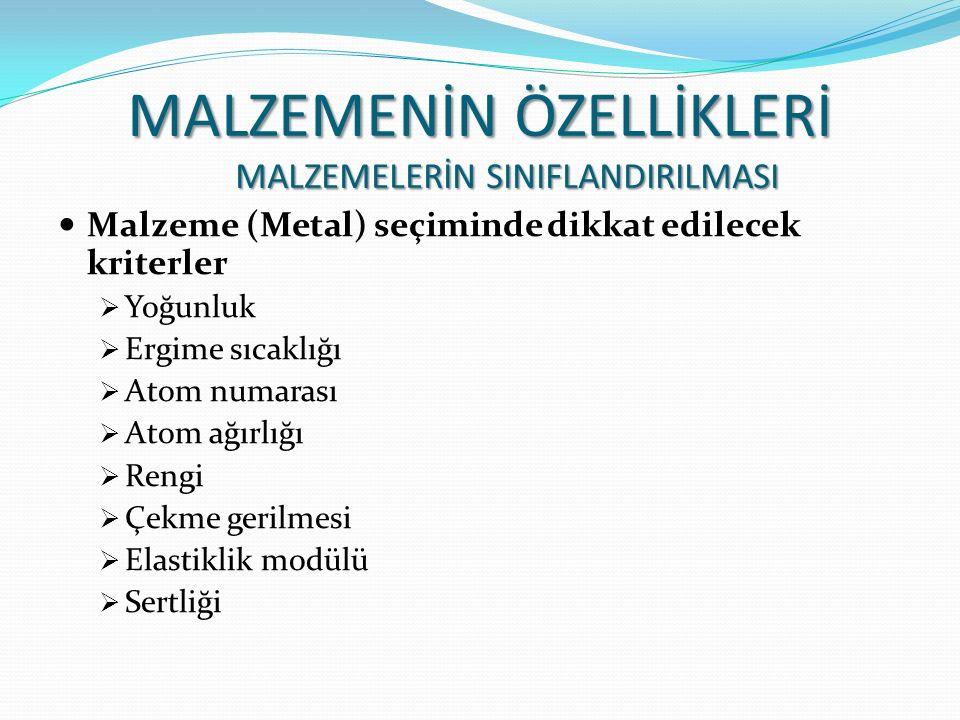 Malzeme (Metal) seçiminde dikkat edilecek kriterler  Yoğunluk  Ergime sıcaklığı  Atom numarası  Atom ağırlığı  Rengi  Çekme gerilmesi  Elastikl