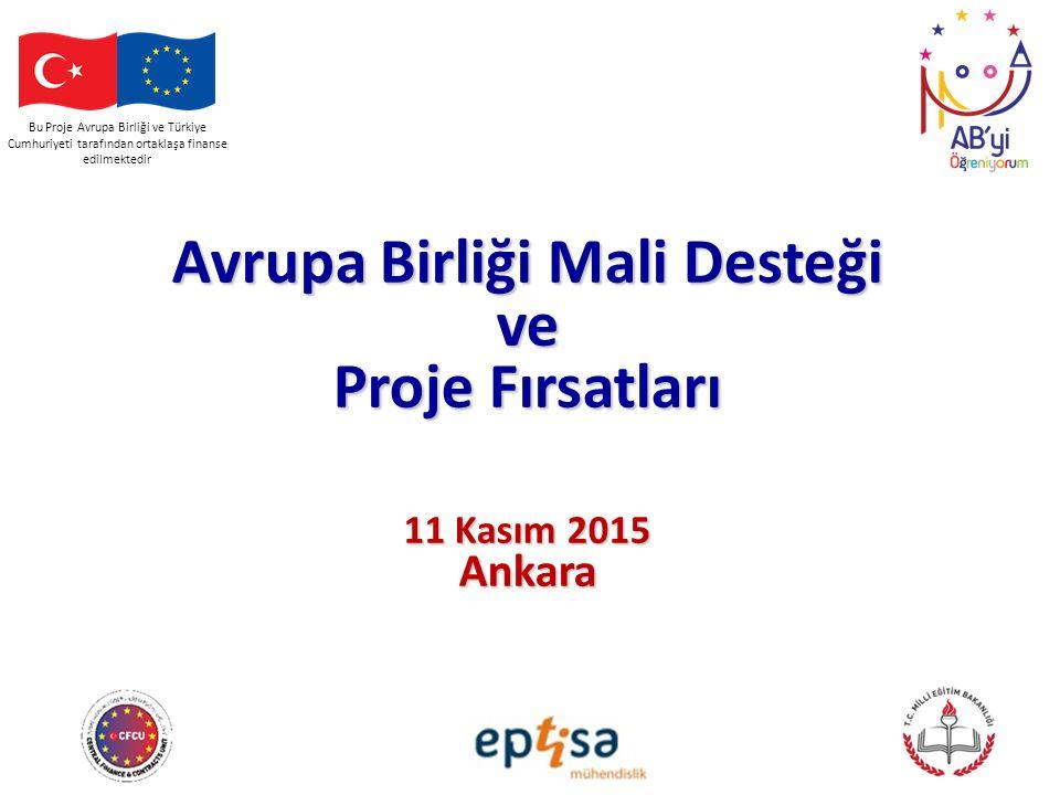 Bu Proje Avrupa Birliği ve Türkiye Cumhuriyeti tarafından ortaklaşa finanse edilmektedir Avrupa Birliği Mali Desteği ve Proje Fırsatları 11 Kasım 2015