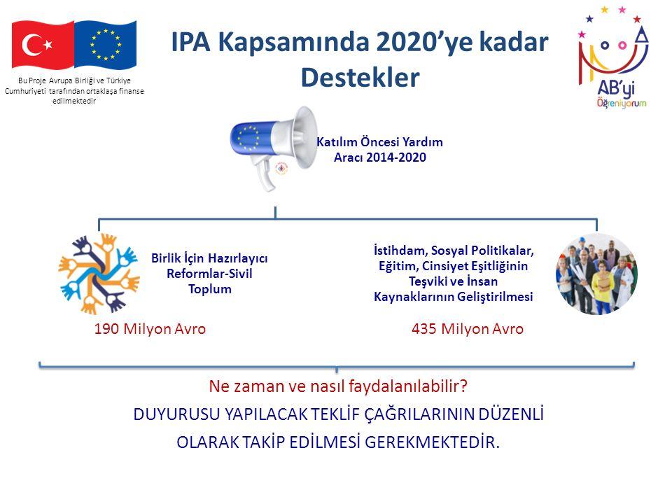 Bu Proje Avrupa Birliği ve Türkiye Cumhuriyeti tarafından ortaklaşa finanse edilmektedir IPA Kapsamında 2020'ye kadar Destekler Katılım Öncesi Yardım