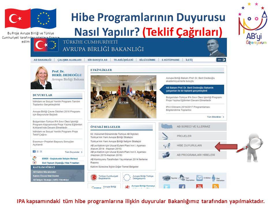 Bu Proje Avrupa Birliği ve Türkiye Cumhuriyeti tarafından ortaklaşa finanse edilmektedir Hibe Programlarının Duyurusu Nasıl Yapılır? (Teklif Çağrıları