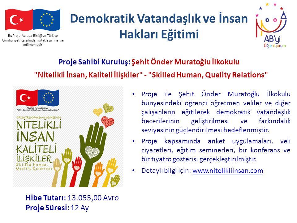Bu Proje Avrupa Birliği ve Türkiye Cumhuriyeti tarafından ortaklaşa finanse edilmektedir Demokratik Vatandaşlık ve İnsan Hakları Eğitimi Proje Sahibi