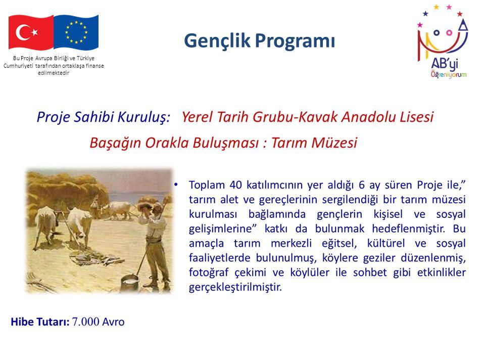 Bu Proje Avrupa Birliği ve Türkiye Cumhuriyeti tarafından ortaklaşa finanse edilmektedir Gençlik Programı