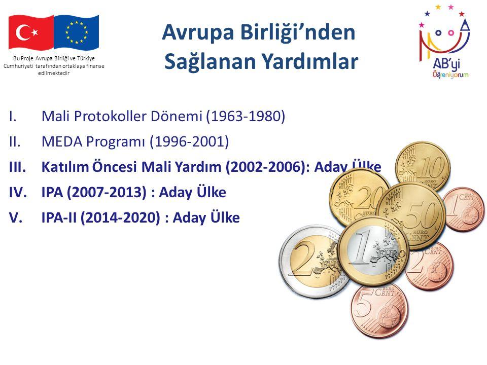 Avrupa Birliği'nden Sağlanan Yardımlar I.Mali Protokoller Dönemi (1963-1980) II.MEDA Programı (1996-2001) III.Katılım Öncesi Mali Yardım (2002-2006):