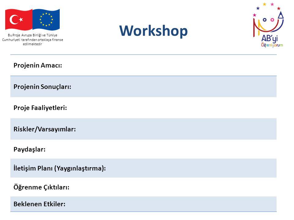 Bu Proje Avrupa Birliği ve Türkiye Cumhuriyeti tarafından ortaklaşa finanse edilmektedir Workshop Projenin Amacı: Projenin Sonuçları: Proje Faaliyetle