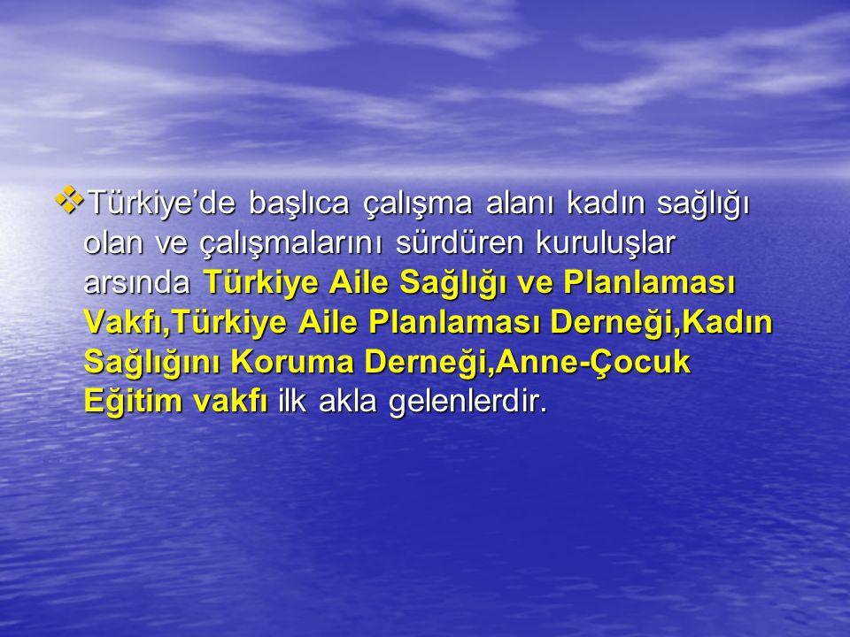  Türkiye'de başlıca çalışma alanı kadın sağlığı olan ve çalışmalarını sürdüren kuruluşlar arsında Türkiye Aile Sağlığı ve Planlaması Vakfı,Türkiye Ai
