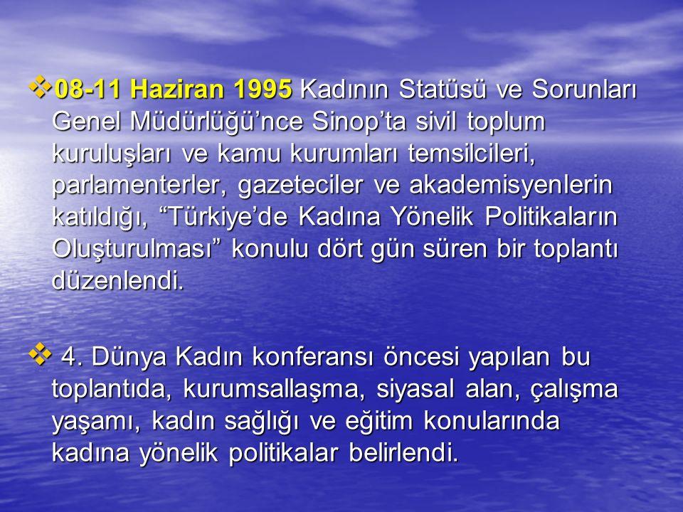  08-11 Haziran 1995 Kadının Statüsü ve Sorunları Genel Müdürlüğü'nce Sinop'ta sivil toplum kuruluşları ve kamu kurumları temsilcileri, parlamenterler