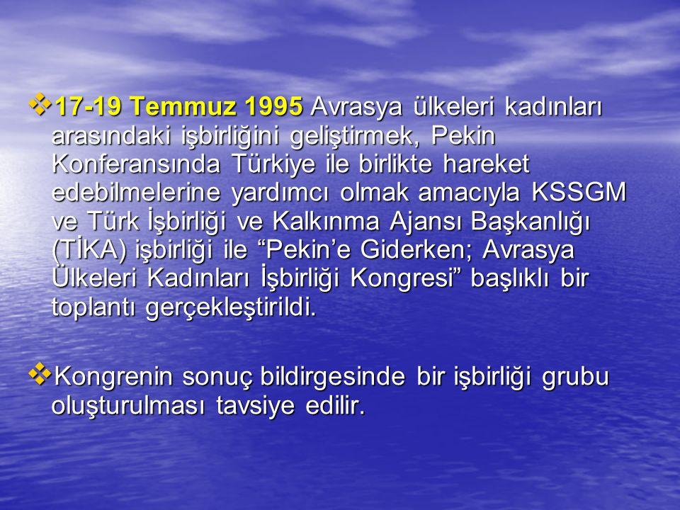  17-19 Temmuz 1995 Avrasya ülkeleri kadınları arasındaki işbirliğini geliştirmek, Pekin Konferansında Türkiye ile birlikte hareket edebilmelerine yar
