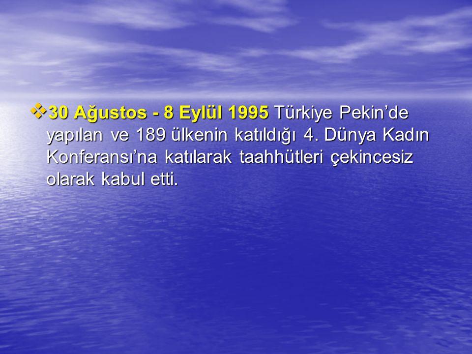  30 Ağustos - 8 Eylül 1995 Türkiye Pekin'de yapılan ve 189 ülkenin katıldığı 4. Dünya Kadın Konferansı'na katılarak taahhütleri çekincesiz olarak kab