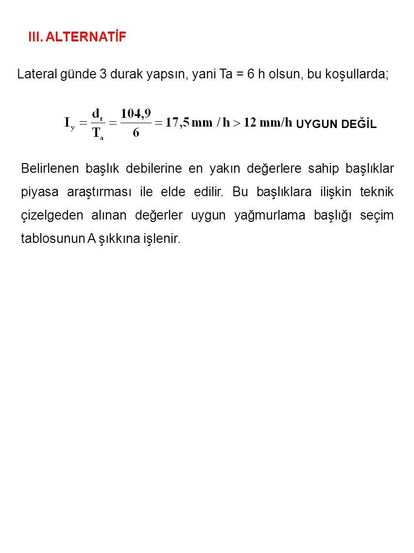 III. ALTERNATİF Lateral günde 3 durak yapsın, yani Ta = 6 h olsun, bu koşullarda; Belirlenen başlık debilerine en yakın değerlere sahip başlıklar piya