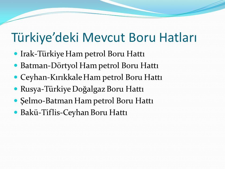 Türkiye'deki Mevcut Boru Hatları Irak-Türkiye Ham petrol Boru Hattı Batman-Dörtyol Ham petrol Boru Hattı Ceyhan-Kırıkkale Ham petrol Boru Hattı Rusya-