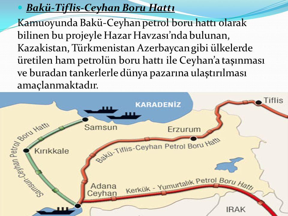 Bakü-Tiflis-Ceyhan Boru Hattı Kamuoyunda Bakü-Ceyhan petrol boru hattı olarak bilinen bu projeyle Hazar Havzası'nda bulunan, Kazakistan, Türkmenistan