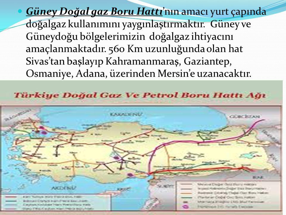 Güney Doğal gaz Boru Hattı'nın amacı yurt çapında doğalgaz kullanımını yaygınlaştırmaktır. Güney ve Güneydoğu bölgelerimizin doğalgaz ihtiyacını amaçl