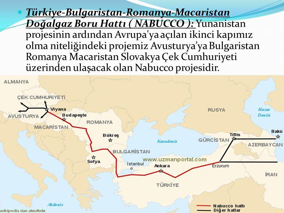 Türkiye-Bulgaristan-Romanya-Macaristan Doğalgaz Boru Hattı ( NABUCCO ): Yunanistan projesinin ardından Avrupa'ya açılan ikinci kapımız olma niteliğind