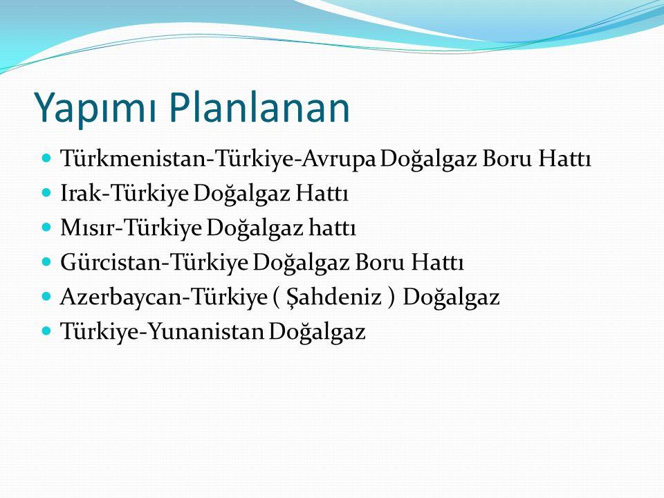 Yapımı Planlanan Türkmenistan-Türkiye-Avrupa Doğalgaz Boru Hattı Irak-Türkiye Doğalgaz Hattı Mısır-Türkiye Doğalgaz hattı Gürcistan-Türkiye Doğalgaz B