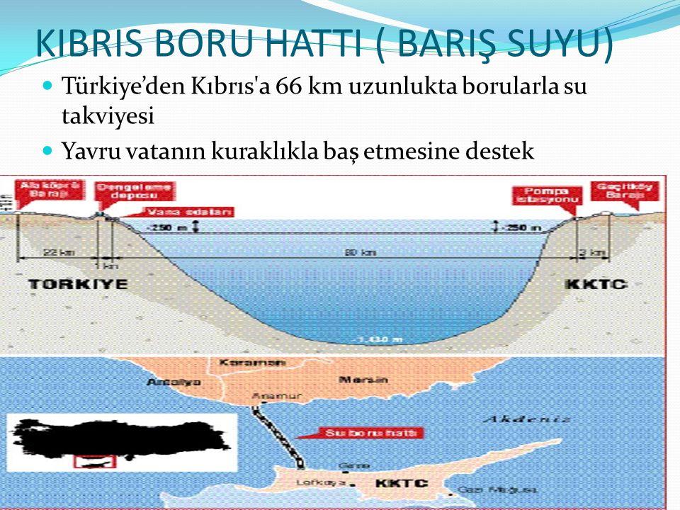 KIBRIS BORU HATTI ( BARIŞ SUYU) Türkiye'den Kıbrıs'a 66 km uzunlukta borularla su takviyesi Yavru vatanın kuraklıkla baş etmesine destek