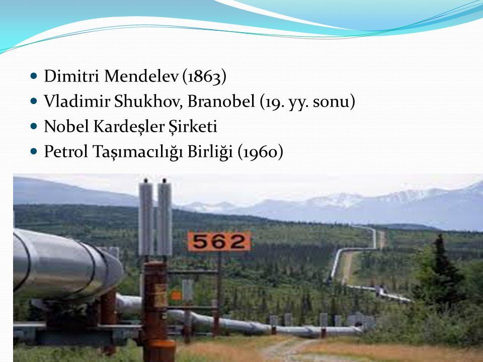 Dimitri Mendelev (1863) Vladimir Shukhov, Branobel (19. yy. sonu) Nobel Kardeşler Şirketi Petrol Taşımacılığı Birliği (1960)