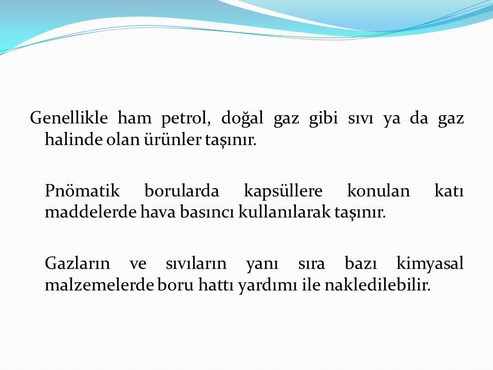 Genellikle ham petrol, doğal gaz gibi sıvı ya da gaz halinde olan ürünler taşınır. Pnömatik borularda kapsüllere konulan katı maddelerde hava basıncı